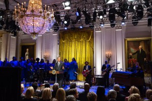 """President Barack Obama delivers remarks during """"The Gospel Tradition: In Performance at the White House"""" in the East Room of the White House, April 14, 2015. (Official White House Photo by Amanda Lucidon) This photograph is provided by THE WHITE HOUSE as a courtesy and is for promotional use only on the PBS website as related to the airing of ÒThe Gospel Tradition: In Performance at the White House"""" concert. The photograph may not be manipulated in any way and may not otherwise be reproduced, disseminated or broadcast, without the written permission of the White House Photo Office. The photograph may not be used in any commercial or political materials, advertisements, emails, products, promotions that in any way suggests approval or endorsement of the President, the First Family, or the White House."""