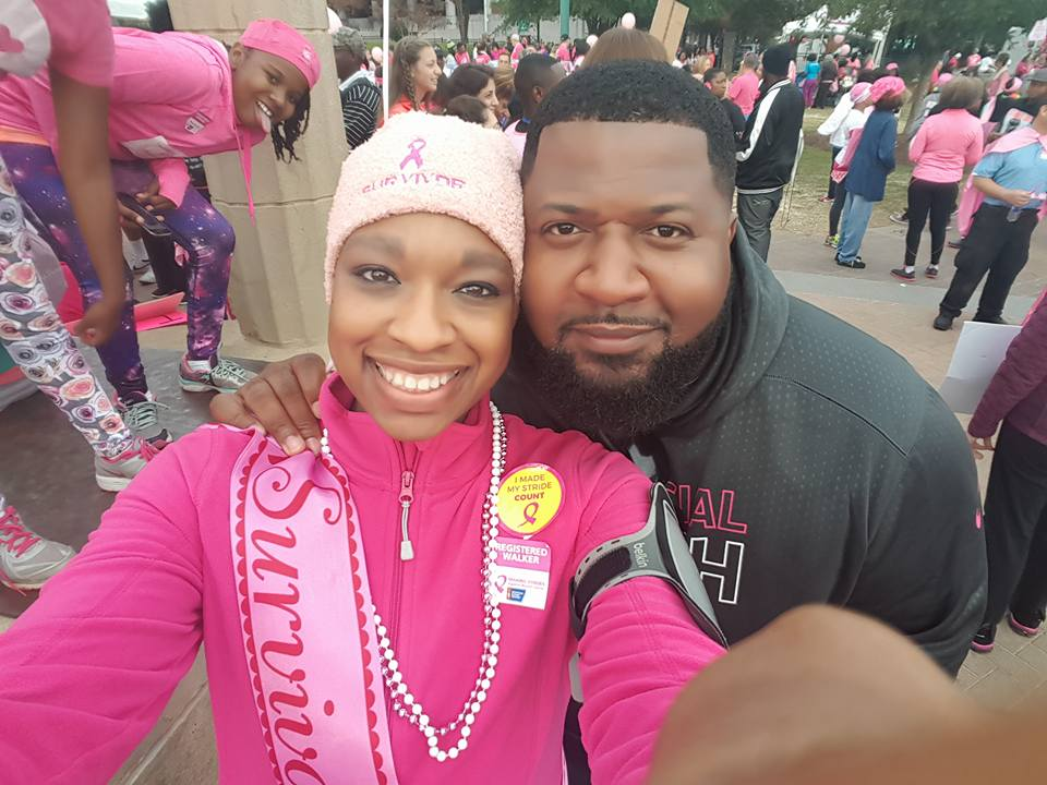 Keisha and her husband at the Making Strides Against Breast Cancer walk on Saturday, October 24.